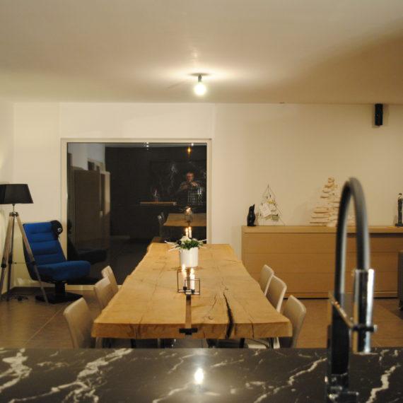 Keuken Moorslede | marmer formica houtnerfstructuur